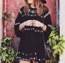 ZARA Black Ethnic Embroidered Beaded Dress Medium M Boho Layered