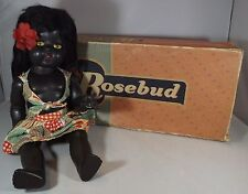 "VINTAGE 1950s BOXED 14"" HARD PLASTIC ROSEBUD BLACK GIRL DOLL IN ORIGINAL OUTFIT"