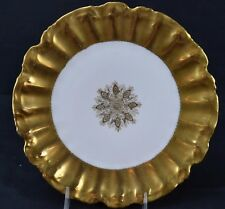 """LS&S Limoges Thick Fancy Gold Snowflake Center Plate Scalloped Edge 9 7/8"""""""