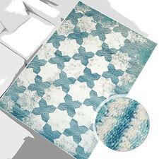 %Sale Teppich Modern Designer Wohnzimmer Inspiration Grid Türkis Creme 160x230cm