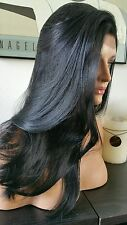 Beautiful Straight Black Lace Front Wig Soft Long Layers Feathered - Heat Safe