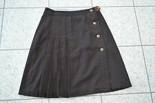 Alice Collins Brown Wool Tweed and Suede Check Pleated Kilt / Skirt - Size 12