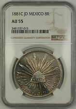 1881C JD Mexico 8R Eight Reales Silver Coin NGC AU-55