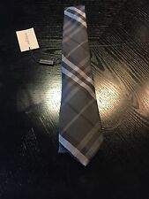 New Authentic Burberry Nova Check Plaid Haymarket Slim Black Tie Sold Out $225