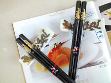 2 JAPANESE GOLD LONGEVITY BLACK CHOPSTICKS STAND CHINESE NEW YEAR DINNER PARTY
