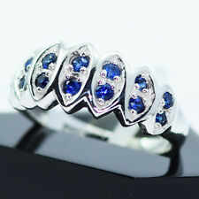 NATURAL CEYLON BLUE SAPPHIRE DIAMOND CUT SOLID STERLING 925 SILVER RING# 6.50