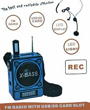 Portabel Akku Mini Box Musikbox Lautsprecher Radio MP3 Player Micro-SD USB (Blau