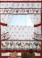 "Kitchen Curtains Tailored Cottage Set, Rooster design # 2 (57"" x 36"")"