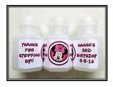30 Minnie Mouse Birthday Bubble labels Stickers Party Favors HOT PINK