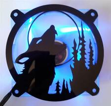 Custom 120mm HOWLING WOLF Computer Fan Grill Gloss Black Acrylic Cooling Cover
