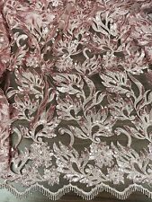 "ROSE PINK MESH W/SEQUINS EMBROIDERY LACE FABRIC 50"" WiIDE 1 YARD"