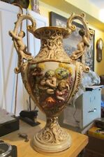 "HUGE 21"" TALL CAPODIMONTE TALL HANDLED URN VASE WITH CHERUBS HIGH RELIEF"