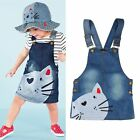 Toddler Baby Kids Girls Cute Cat Denim Jeans Overalls Dress Skirt Clothes 2-7Y