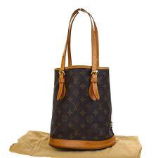 Authentic LOUIS VUITTON Bucket PM Shoulder Tote Bag Monogram M42238 Brown 09F331