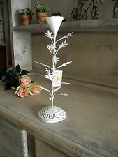 Weiß antique Kerzenständer shabby chic Kerzenhalter French filigran Metall