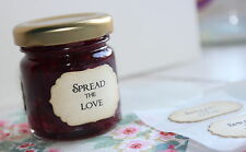SPREAD THE LOVE-Adhesive Labels-Seals-Mini Jam Jar-Vintage Style-Favour-Wedding