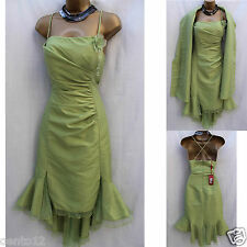 Designer Creatif Paris Green Taffeta Bastier Wedding Cocktail Dress & Stole 8 UK