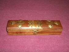 Beautiful Unique Jewelry Box wood and brass Hand Made velvet trinket hinged