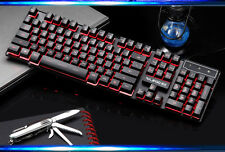 US 3 Colors Backlit Cyborg Soldier Ergonomic Usb Gaming Keyboard Blue/Red/Purple