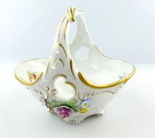 #e3845 PMP Plaue handgefertigtes Porzellan Körbchen von Schierholz mit Blumen