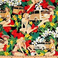 "Pin-up Hawaiian Floral ""aloha girls"" Woody Car Alexander Henry Fabric Cotton 22"""