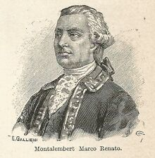 A7184 Charles Forbes René de Montalembert - Incisione antica 1928 - Engraving