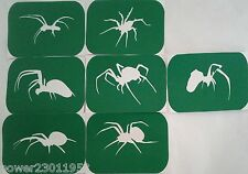 Pack of 7 spiders Vinyl Spider Tattoo Body Art Stencils  Glitter art Airbrush