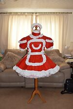 Amazing Red PVC Adult Sissy Maids Dress With White Apron size xxl