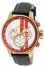 Invicta Men's S1 Rally Chronograph Red and White Dial Black Leather Watch 19906