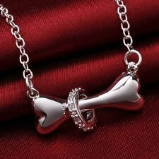 Dog Bone Pendant Women's Crystal Necklace 925 Silver Plated New Fashion Jewelry