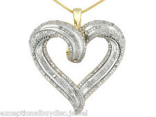 BIG 14K & SS ROUND BAGUETTE DIAMOND HEART NECKLACE 18 INCH + GIFT!