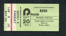 1982 Rush Rory Gallagher concert ticket stub Boise State Idaho Signals Tour