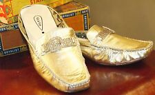 VIS A VIE LEATHER MULES GOLD RHINESTONE PRONG SET BUCKLES FLATS 7.5 GENTLY USED
