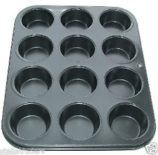 12 CUP MUFFIN, CUP CAKE BUN TRAY TIN PAN NON STICK