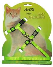 NEON GREEN Adjustable Nylon Pet Cat Harness and Leash ~ Belt Collar with lead