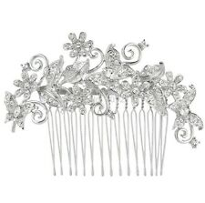 Silver Bridal Wedding Austrian Crystal Hair Clip Comb Head Piece