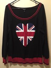 Torrid 2 2X Sweater England English Flag Heart Black & Red