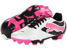 NEW - Puma Kids PowerCat 4 FG Jr - Metallic White&Pink - Size 5.5 (Ages 5+)