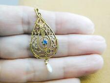 Antique Victorian 14k Yellow Gold Sapphire & Pearl Lavalier Pendant