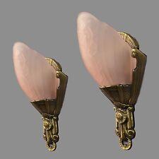 Pair Sconces Period Slip Shade Lights c1930 Vintage Antique Restored Slipper