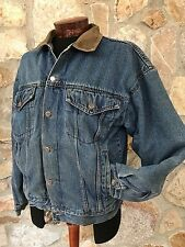 Wrangler Hero Vintage Denim Blue Jean Insulated Jacket Corduroy Men's size M
