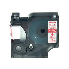 45012 ROSSO SU TRASPARENTE NASTRO COMPATIBILE DYMO D1 CASSETTA LABELMANAGER 12mm