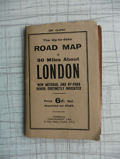 VINTAGE ROAD MAP OF 30 MILES ABOUT LONDON NEW ARTERIAL AND BY-PASS ROUTES in RED