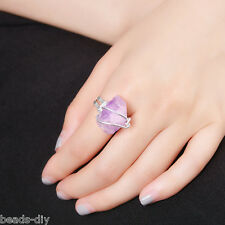 BD New Women Homemade Purple Spar Jewelry Natural Stone Adjustable Ring