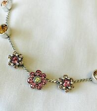 Pilgrim Genuine Swarovski Crystal Necklace. Pink Flower Design.Price $13.00