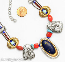 Chico's Signed Necklace Silver & Gold Tone Layered Oval Cobalt Blue Pendant