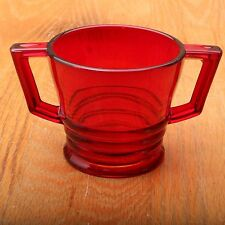 Vintage Red Glass Double Handle Sugar Bowl Cup
