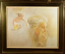Original Fred Money Oil Painting of Baby & Grandma, Birth & Death, Listed French