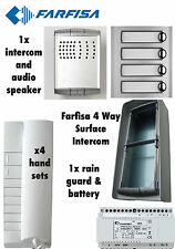 FARFISA 4 VIE superficie Intercom Sistema Audio/Kit all'Aperto 4x ricevitori 1x INTERFONO