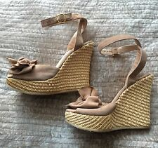 LK Bennett wedges heels 37 UK 4 nude beige suede leather bow peeptoe espadrilles